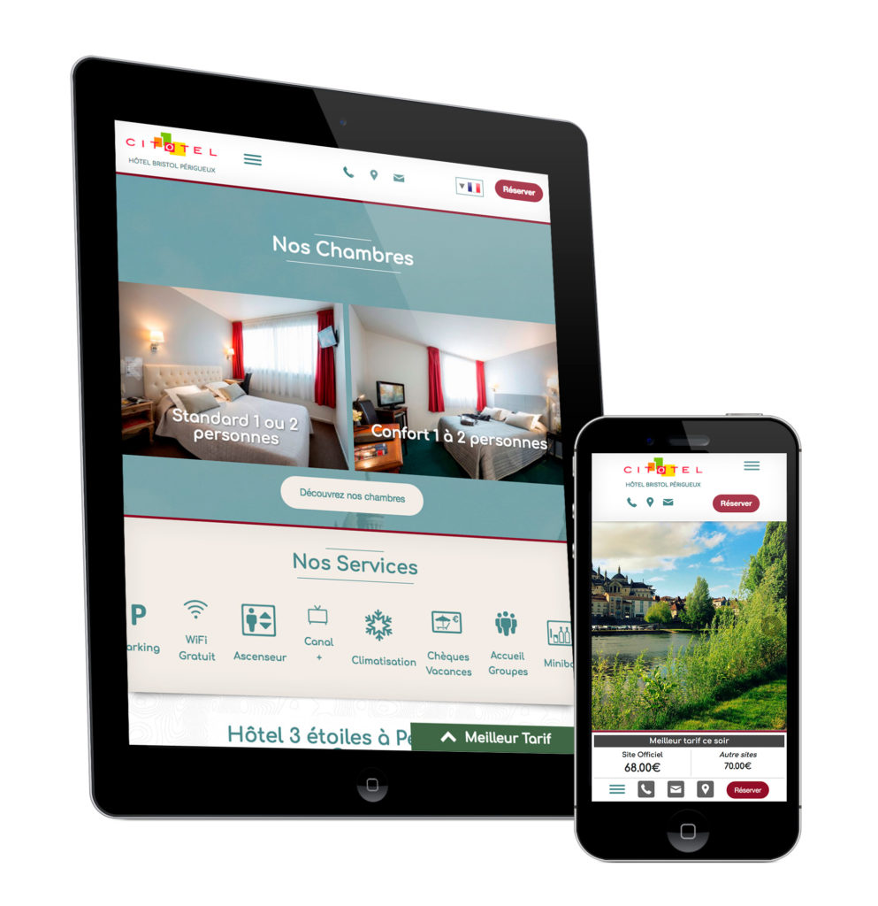 Version mobile du site internet de hotel Bristol Perigueux