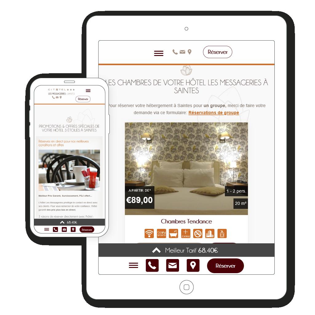 vue mobile et tablette du site internet responsive
