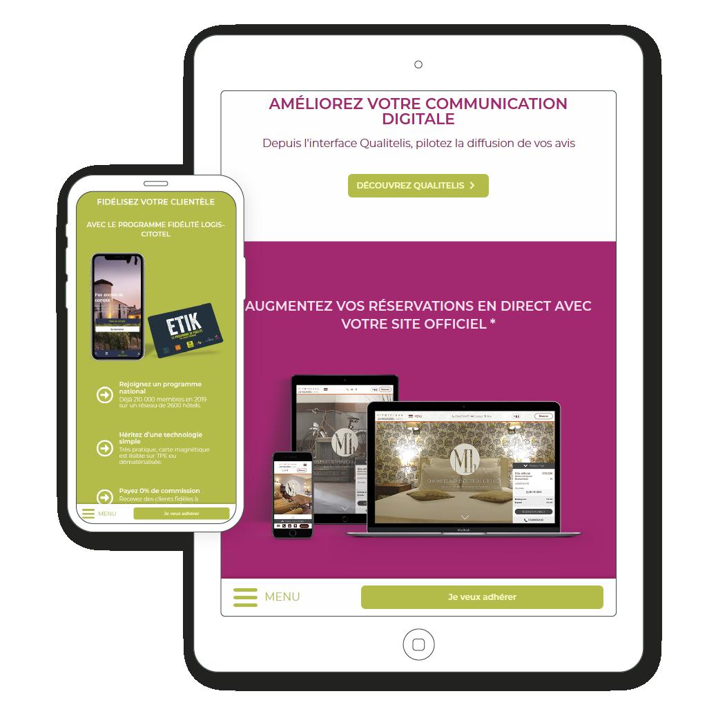 affichage mobile et tablette de la page web